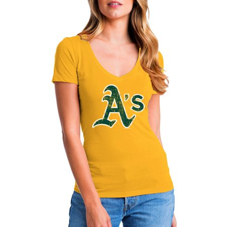 Gold Womens Baseball (MLB Oakland Athletics Women's Short Sleeve Team Color Graphic Tee)