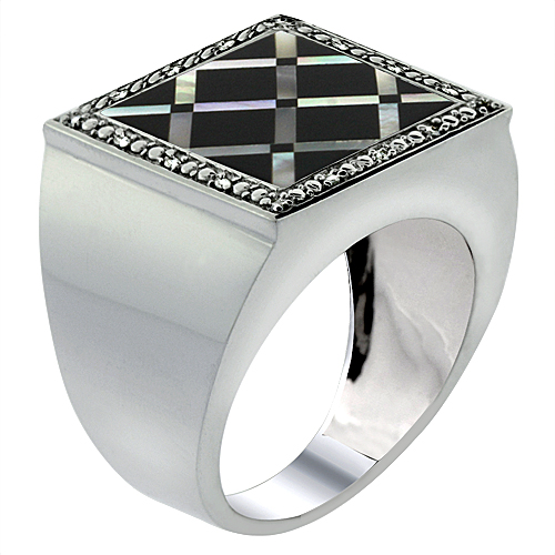 Mens 10K White Gold Natural Onyx & Mother of Pearl Ring S...