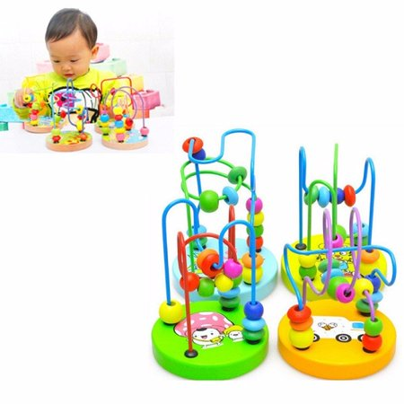 Mini Around Beads Wire Maze Roller Coaster Wooden Educational Game Toys Gift for Baby Kids Children (Toddler Educational Games)