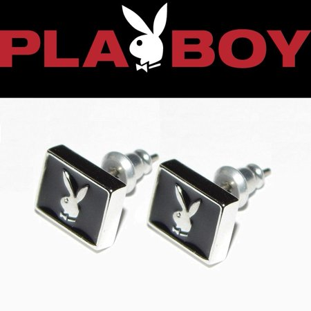 Mens Playboy Earrings Bunny Ear Stud Black Enamel Silver Platinum Plated