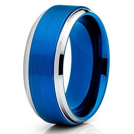 Tungsten Wedding Band 8mm Tungsten Ring Brushed Blue Tungsten Carbide Men Women Comfort Fit Pipe Cut