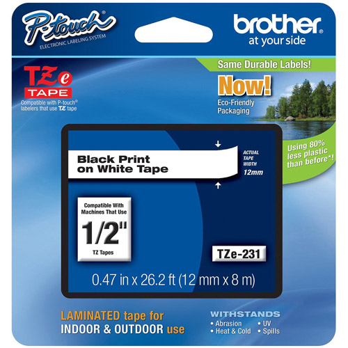 Brother TZE231 12mm Laminated Tape, Black on White