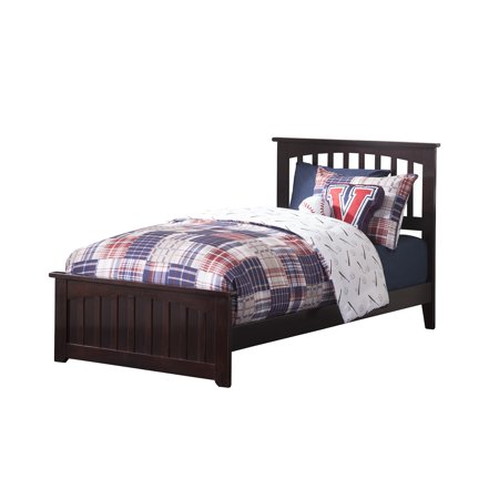 - Mission Traditional Bed with Matching Foot Board, Multiple Colors and Sizes