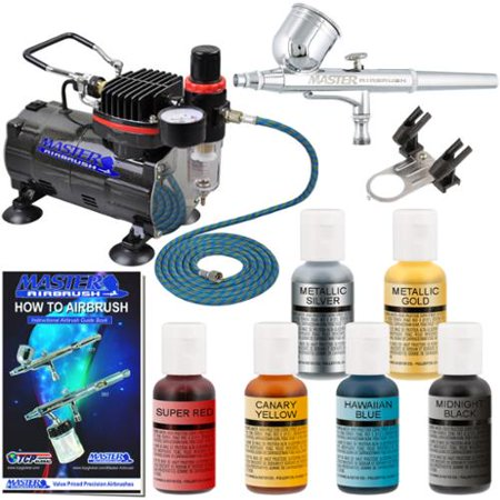 Cake Decorating Airbrush Kit With Compressor Colours And Cleaner : MASTER AIRBRUSH CAKE DECORATING KIT Air Compressor 6 Color Food Coloring Set - Walmart.com