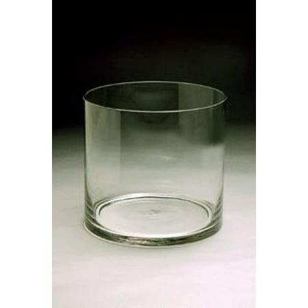 Clear Wide Short Cylinder Glass Vase Candle Holder Open 95