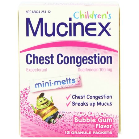 Mucinex Children's Chest Congestion Mini-Melts, Age 4+ Years, Bubble Gum, 12