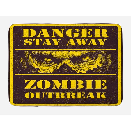 Zombie Bath Mat, Danger Stay Away Outbreak Message Monster Warning Sign Graphic Design, Non-Slip Plush Mat Bathroom Kitchen Laundry Room Decor, 29.5 X 17.5 Inches, Chestnut Brown Yellow, (Dangers Of 2nd Floor Laundry Room Vibration)