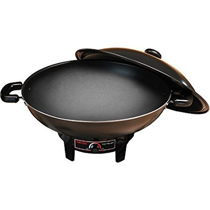 7-Quart Heavy-Duty Nonstick Electric Wok with Lid, Aroma electric wok heats up quickly and retains heat for... by