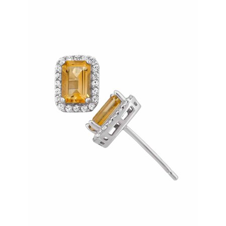 Citrine and CZ Sterling Silver Emerald-Cut Halo Stud Earrings