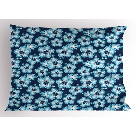 Navy Pillow Sham Hibiscus Hawaiian Tropical Island Flowers Petals and Buds Leaves Art Print, Decorative Standard Queen Size Printed Pillowcase, 30 X 20 Inches, Dark Blue and Sky Blue, by Ambesonne - Hibiscus Petals