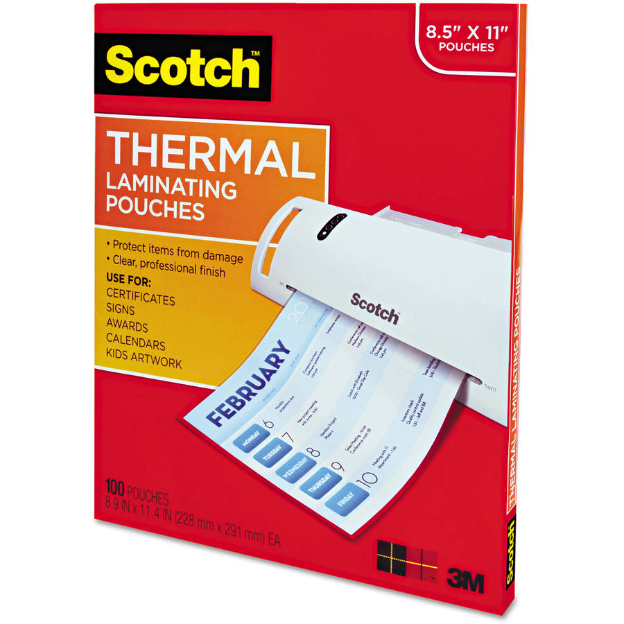 "Scotch Letter Size Thermal Laminating Pouches, 3mil, 11-1/2"" x 9"", 100-Pack"