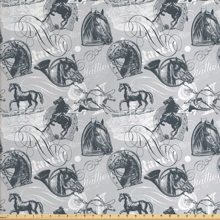 Horses Fabric by The Yard, Vintage Monochrome Sketch Stallion Swirls Calligraphic Design Animal Theme, Decorative Fabric for Upholstery and Home Accents, by Ambesonne Animal Design Fabric