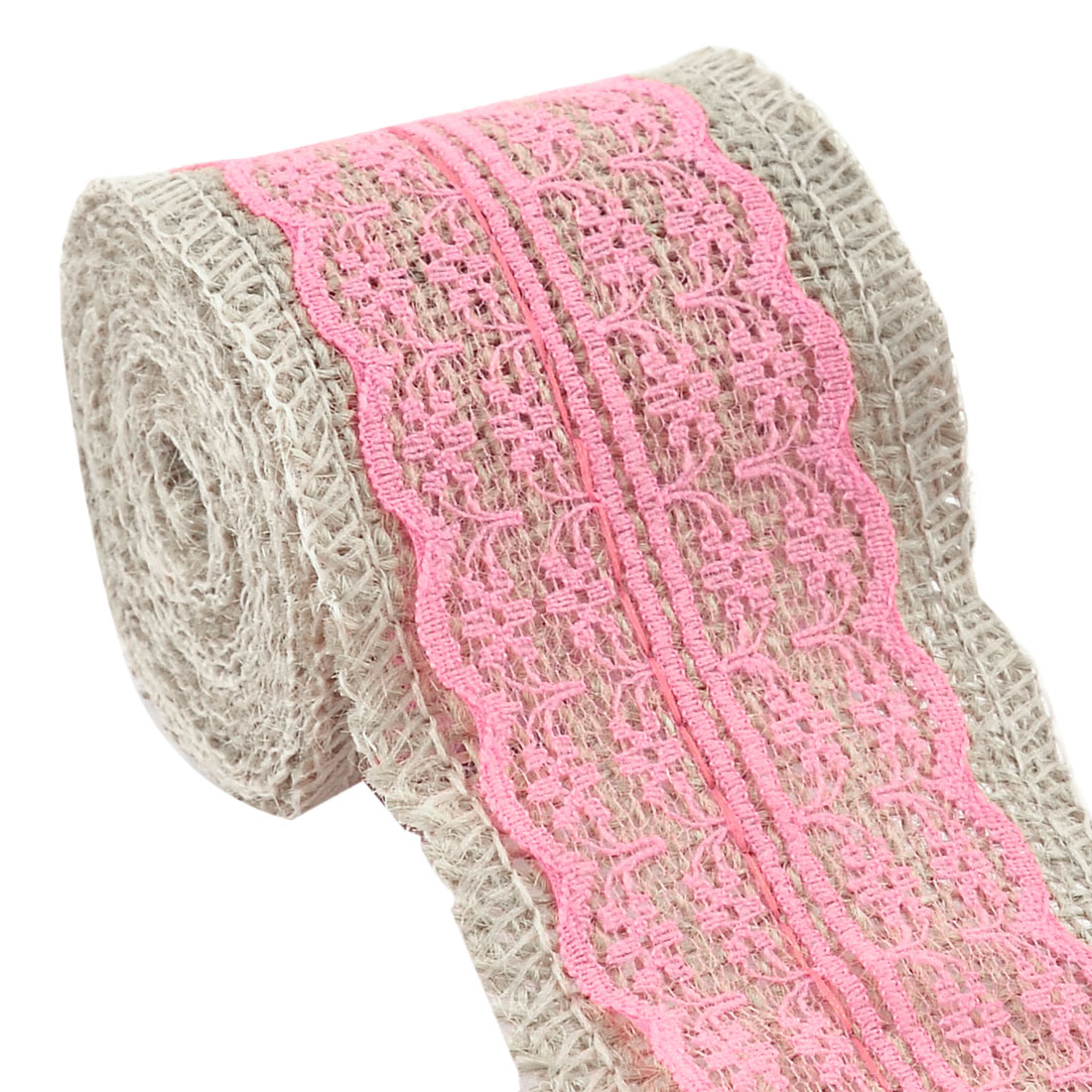 Burlap Strap Art Crafts Lace Ribbon Roll Trim Edge Pink 2.2 Yards for Wedding