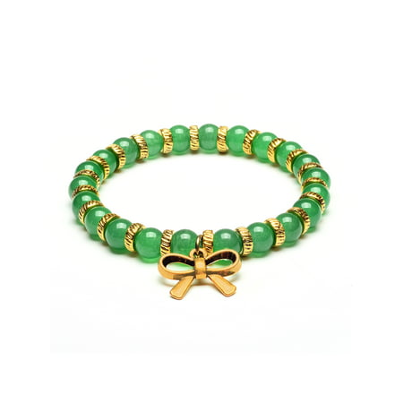 ELYA Bow Tie Charm Green Jade Stone Beaded Bracelet