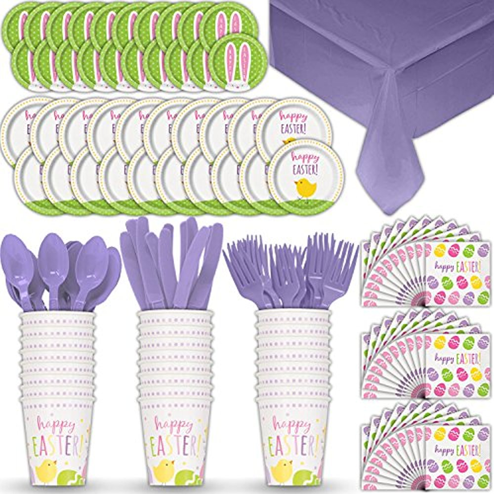 Disposable Paper Dinnerware for 24 - Easter - 2 Size plates, Cups, Napkins , Cutlery (Spoons, Forks, Knives), and tablecovers - Full Party Supply Pack