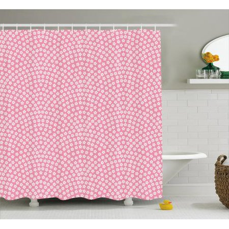 Cherry Blossom Shower Curtain, Samekomon the Japanese Traditional Asian Pattern of Fish Scale Form, Fabric Bathroom Set with Hooks, 69W X 70L Inches, Baby Pink and White, by Ambesonne - Cherry Blossom Baby Shower
