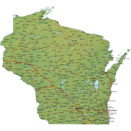 Laminated Poster Wisconsin State Road Map Milwaukee Cheese Green Poster Print 24 x 36](Chinese Lights)