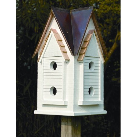 Victorian Mansion Bird House W White Brown Copper Roof