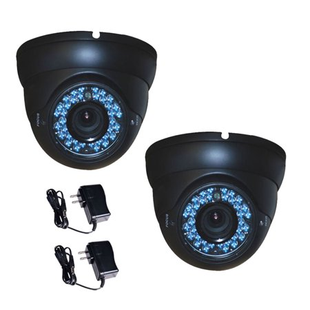 Vandal Proof Infrared 36 Led - VideoSecu 2x Vandal Proof Outdoor 1/3 inch CCD IR Day Night Security Camera 4-9mm Varifocal Lens 480TVL 36 LEDs with 2x Power Supply WG7