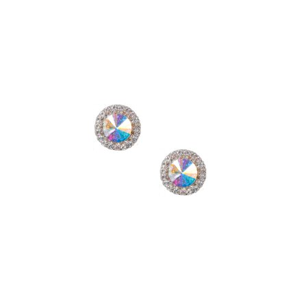 Silver Crystal Rhinestones Round Clip Earrings with Round Cut Aurora Borealis