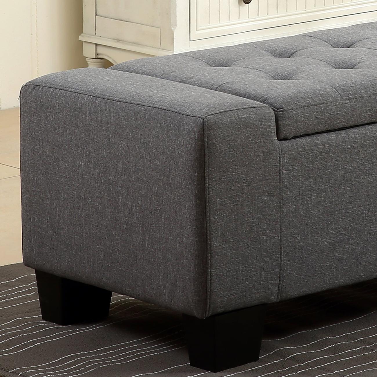 Pleasant Belleze 48 Rectangular Fabric Tufted Storage Ottoman Bench Uwap Interior Chair Design Uwaporg