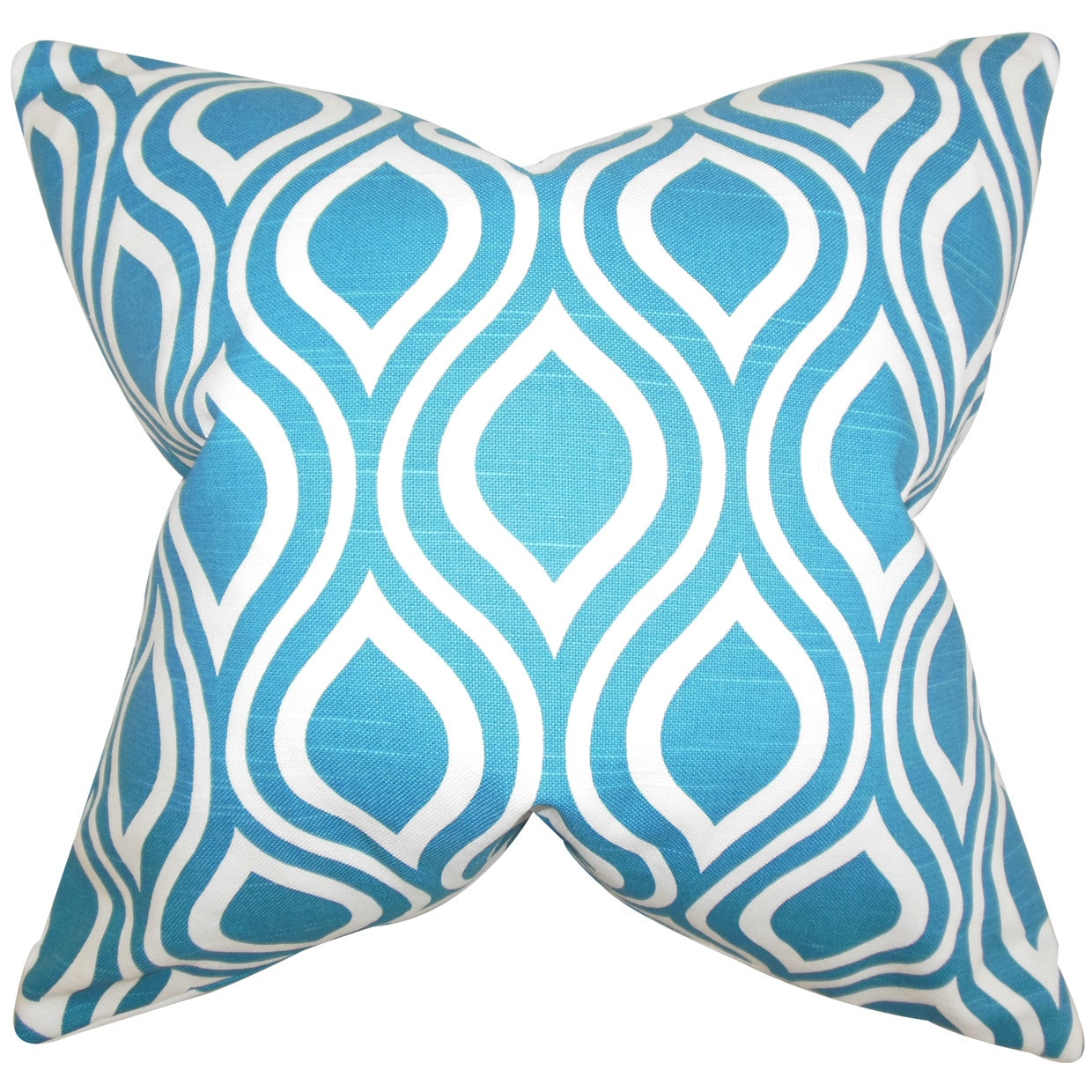 "The Pillow Collection Poplar Geometric 22"" x 22"" Down Feather Throw Pillow Blue"