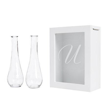 Sand Ceremony Shadow Box Set, Letter U, White, Set Includes Large shadow box, Custom engraved glass insert, Two pouring vases By Cathy's Concepts It comes to you in New and Fresh state A top trending alternative for the traditional unity candle, the Unity Sand Ceremony Shadow Box Set comes complete with two pouring vases, an easy to open shadow box and personalized glass insert. Sand not included. What you see is what you will get