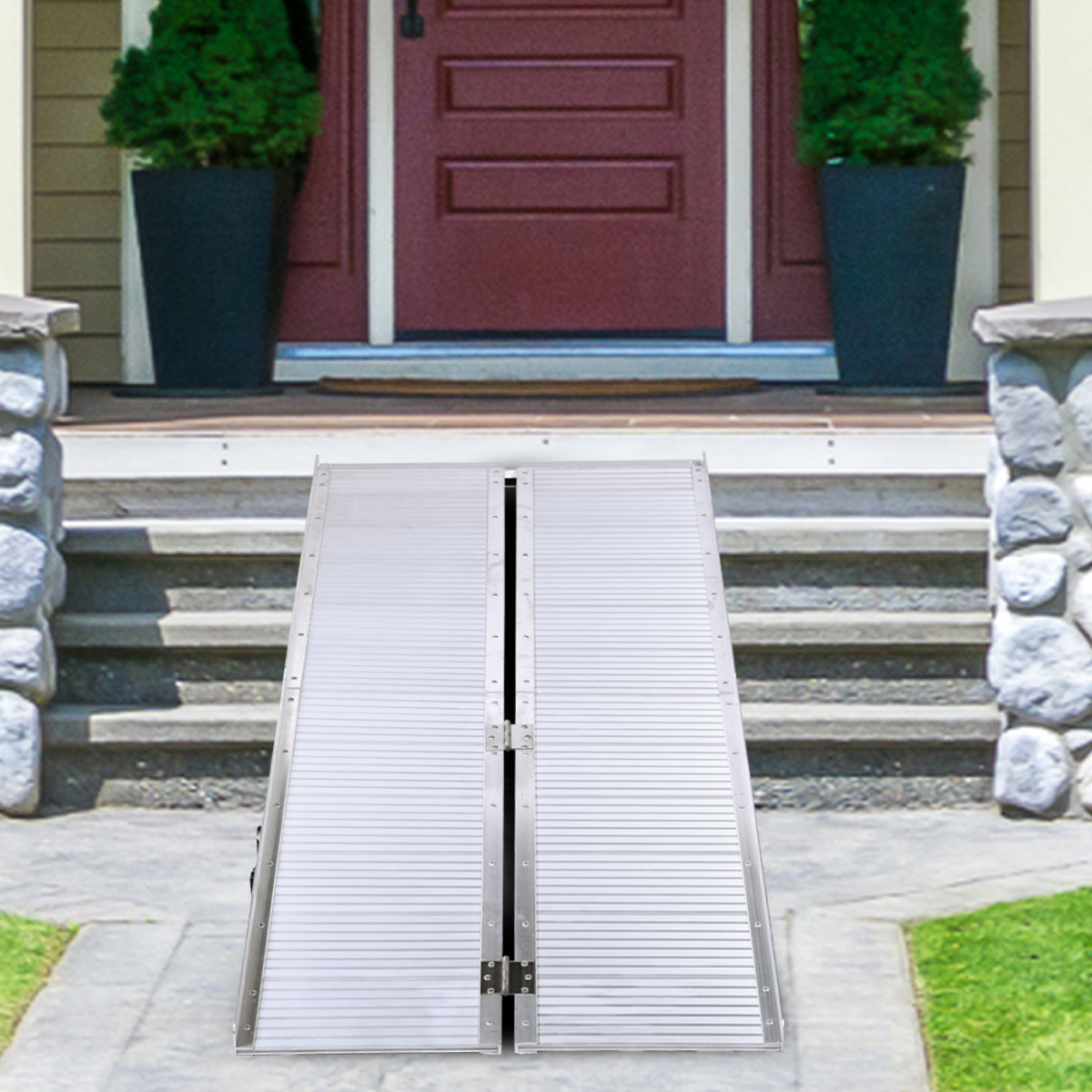 6'Portable Folding Aluminum Wheelchair & Scooter Ramp Threshold