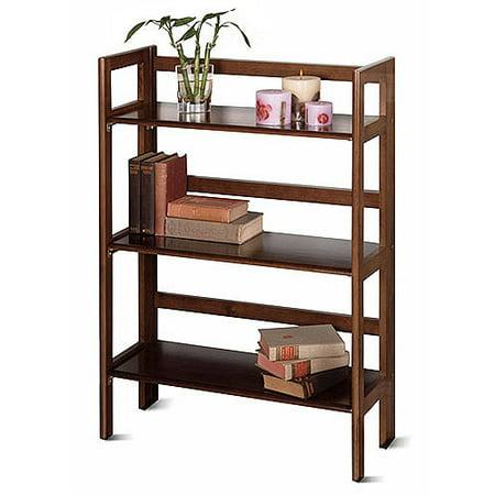 Wood Folding 3-Shelf Bookcase, Multiple Finishes