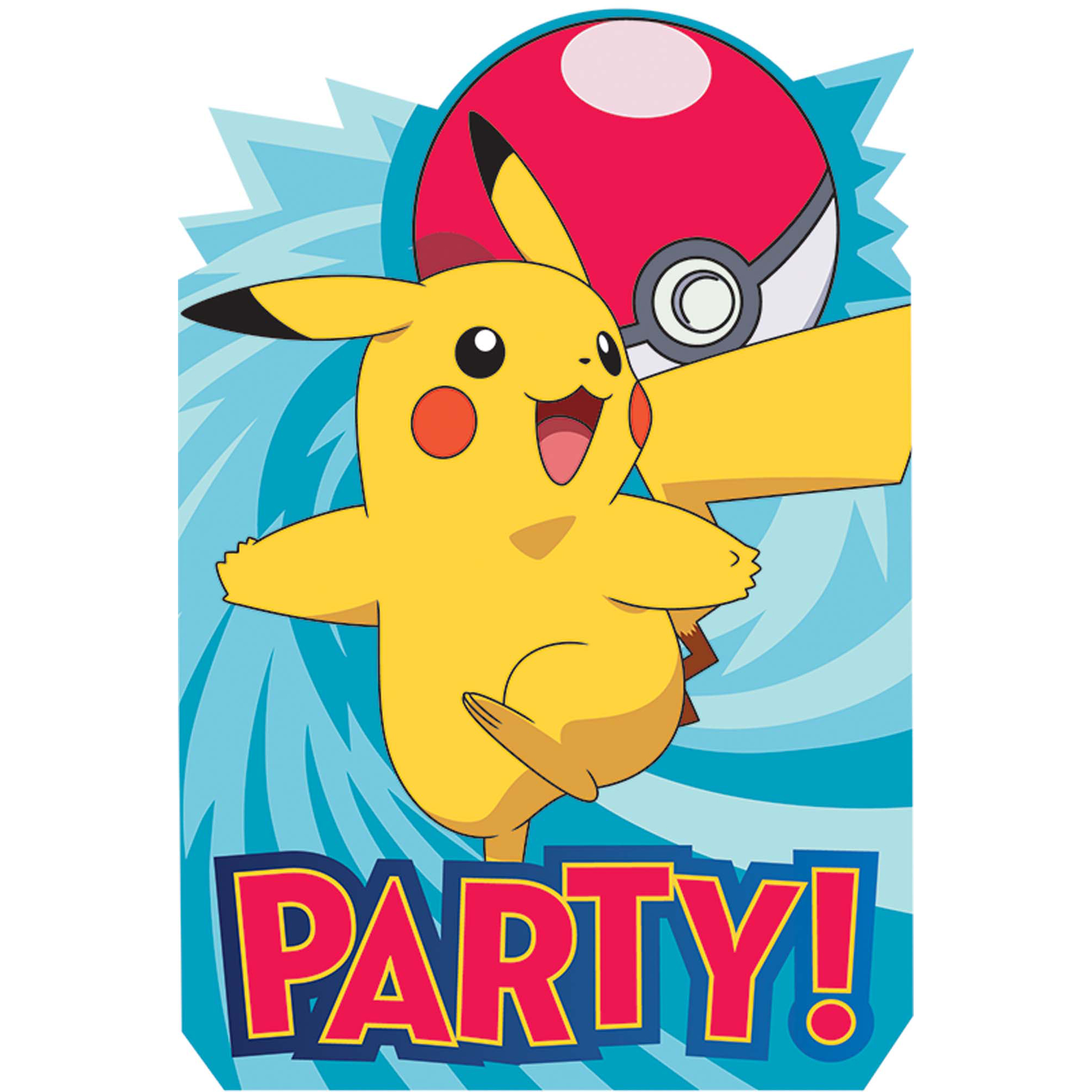 Pokemon Party Supplies 16 Pack Invitations