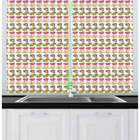 Doodle Curtains 2 Panels Set, Heart Crown Gemstone and Pineapple Children Cartoon Design Colorful Illustration, Window Drapes for Living Room Bedroom, 55W X 39L Inches, Multicolor, by Ambesonne ()