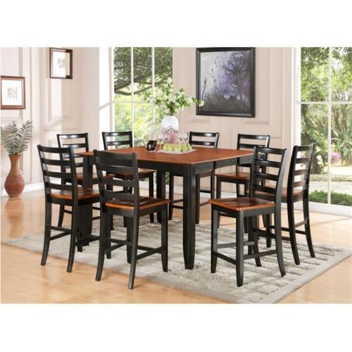 East West Furniture FAIR5-BLK-W 5-Piece Parfait Square Counter Height Table & 4 Microfiber upholstered Seat Chairs in Black & Cherry Finish