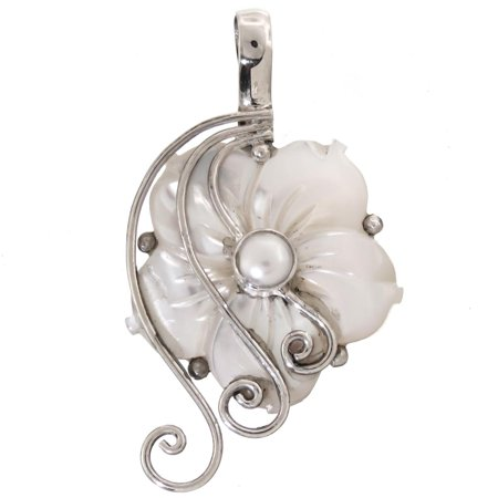 Jade Mother Of Pearl (Freshwater Cultured Pearl Mother Of Pearl Flower Swirl 925 Silver Pendant, 1 3/4