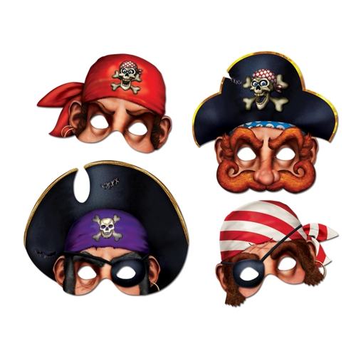 Pirate Party Paper Masks (4 ct)