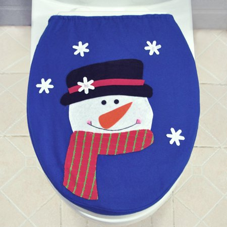 Soft Polyester Snowman Christmas Toilet Seat Cover Christmas Closestool Decorations Ornaments for - Decoration For Toilet