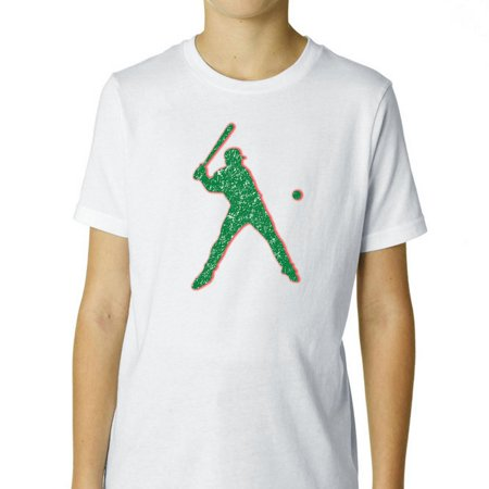 Softball Player Hitting Ball Silhouette Colorful Trendy Boy's Cotton Youth T-Shirt