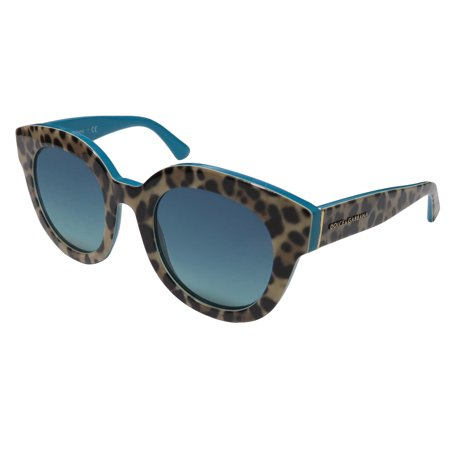 New Dolce Gabbana 4235 Womens/Ladies Designer Full-Rim 100% UVA & UVB Snow Leopard Print / Teal Color Combination Genuine Stunning Hot Frame Gradient Blue Lenses 49-23-140 Sunglasses/Sun (Dolce And Gabbana Blue Sunglasses)