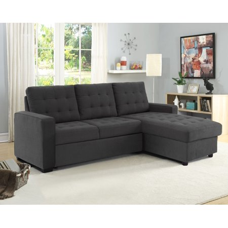 Serta Bostal Sectional Sofa Convertible: converts into a sofa, chaise, bed and storage under the chaise, Steel Grey ()