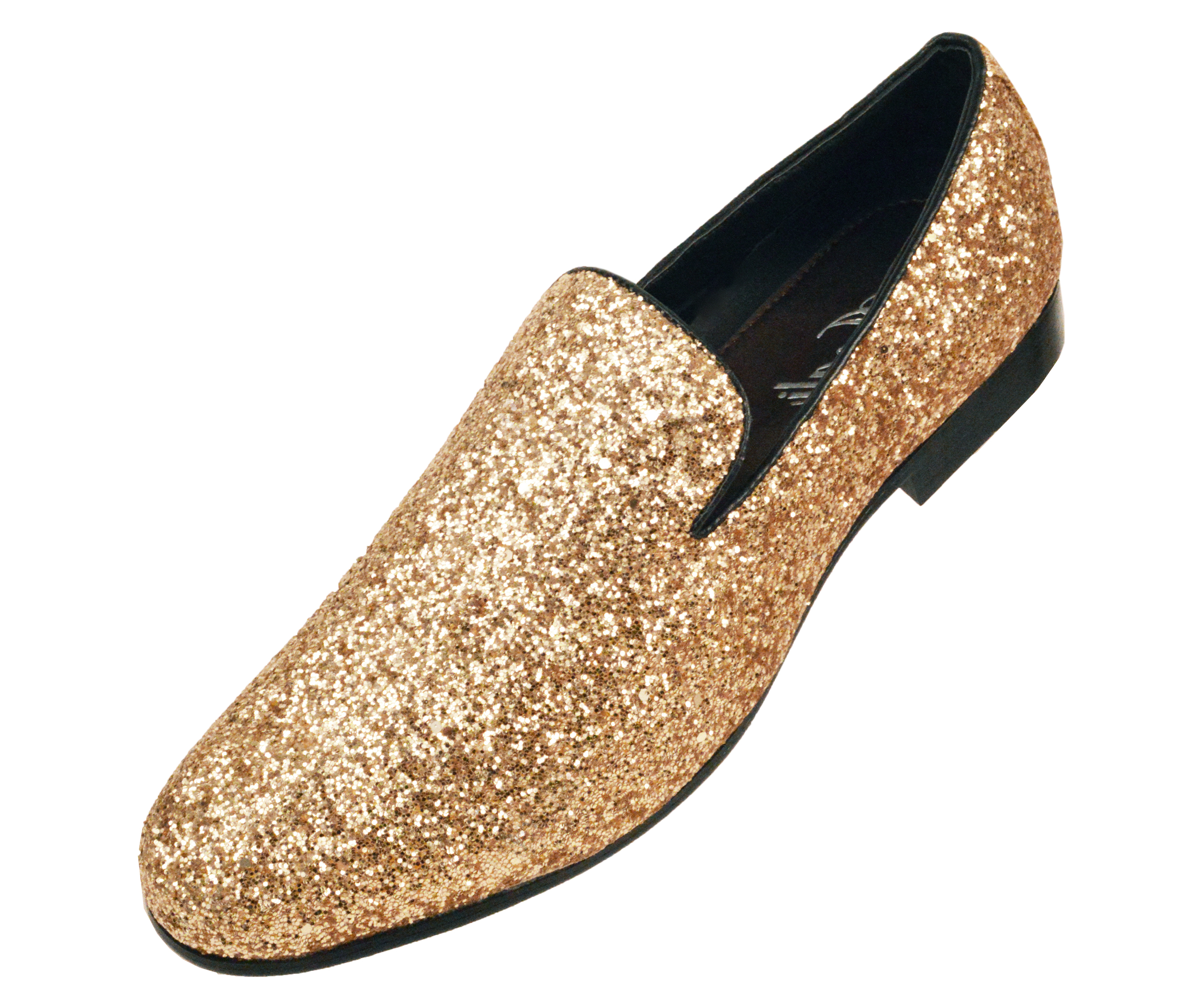 Amali Mens Metallic Sparkling Glitter Tuxedo Slip on Smoking Slipper Dress Shoe