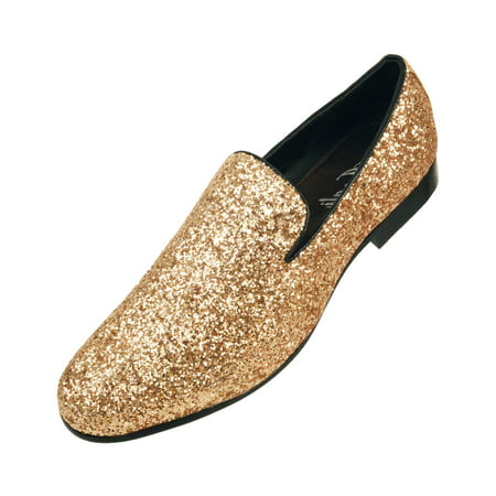 Amali Mens Metallic Sparkling Glitter Tuxedo Slip on Smoking Slipper Dress Shoe - Tux Shoes