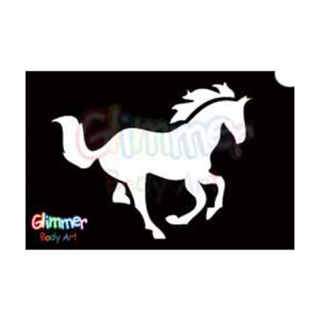 Glimmer Body Art Glitter Tattoo Stencils - Horse (5/pack) (Tattoo Glitter Stencil Kit)