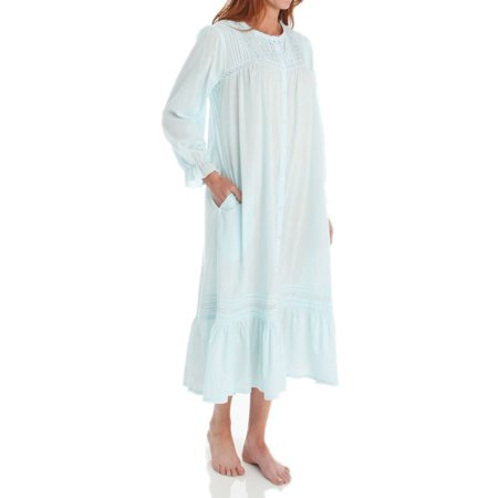Cotton Long Sleeve Robe (Women's La Cera 1250R 100% Cotton Woven Crochet Long Sleeve Robe )