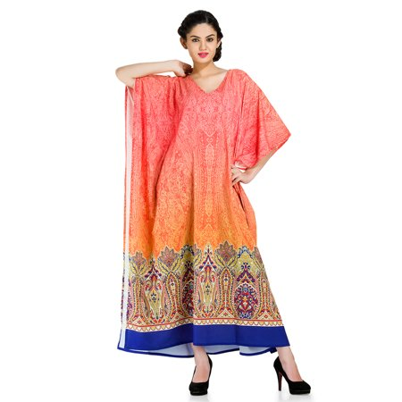 Multicolor Kaftan Dresses for Women  Summer Beach Wear Kimono Maxi Cover Up Women's Long Caftan Dresses for Women Loose Floral Kaftans Night Gown Plus Size Caftan Dress by Goood Times