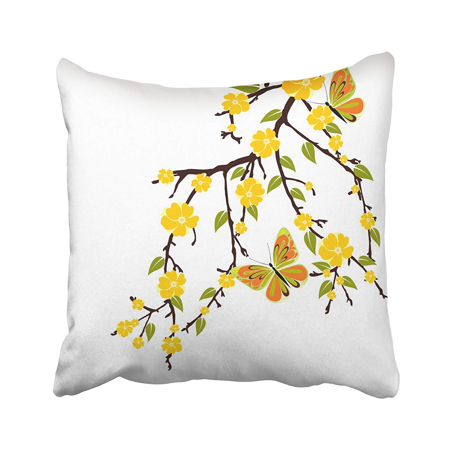 BPBOP Colorful Flower Yellow Blossom Stem Branch Tree Beauty Border Bright Bush Pillowcase Pillow Cushion Cover 18x18 inches