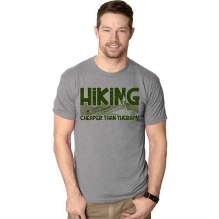 Crazy Dog T-shirts Mens Hiking Cheaper Than Therapy Funny Camping Summer T shirt