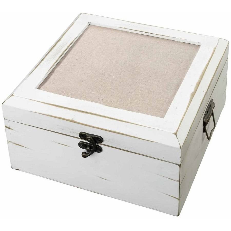 Antique White Card Box, Blank