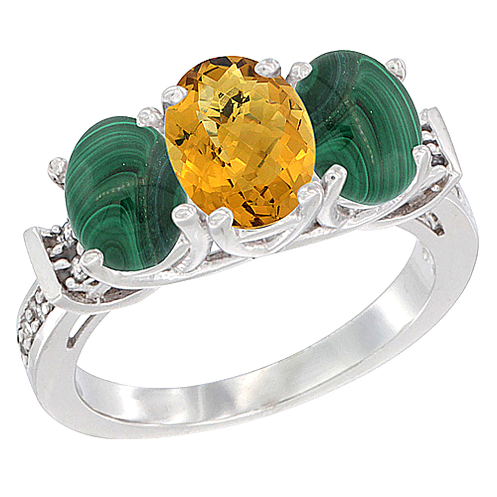 10K White Gold Natural Whisky Quartz & Malachite Sides Ring 3-Stone Oval Diamond Accent, sizes 5 - 10
