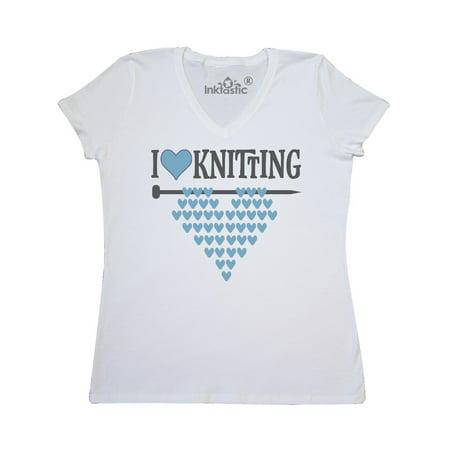 V-neck Knit Shirt - Knitter Gift I Love Knitting Women's V-Neck T-Shirt