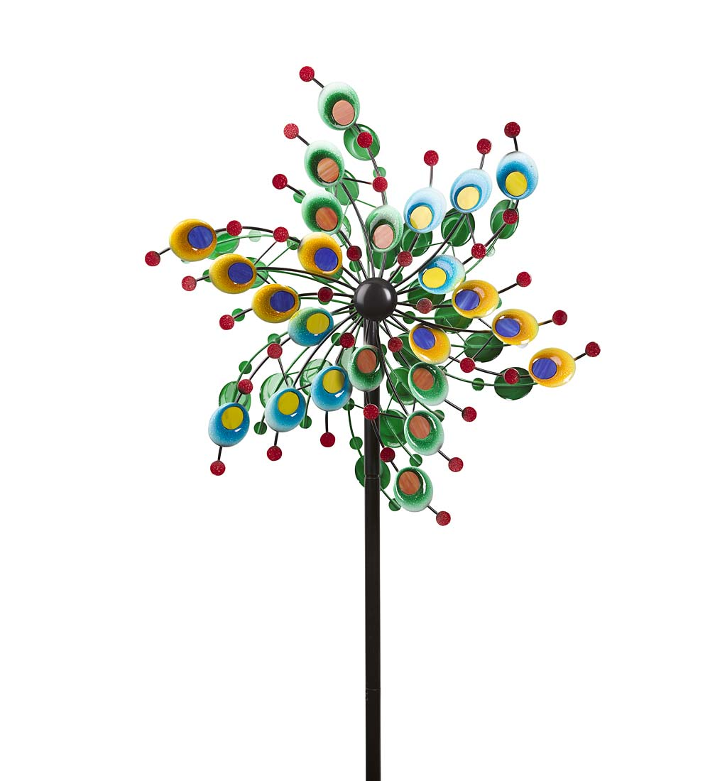Confetti Garden Wind Spinner Made of Metal and Glass by Problem Solvers
