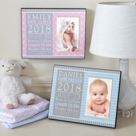 """Personalized Precious Details Baby Photo Frame 10"""" x 8""""-Available in Blue or Pink"""